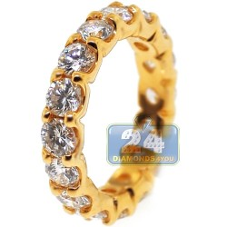 18K Yellow Gold 4.00 ct Round Diamond Womens Eternity Ring