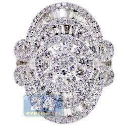 18K White Gold 2.99 ct Diamond Womens Cocktail Ring