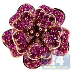 14K Rose Gold 2.81 ct Ruby Womens Flower Ring