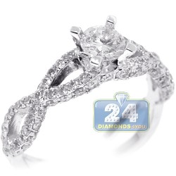 18K White Gold 1.33 ct Diamond Womens Engagement Ring