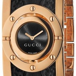 Gucci Twirl Large Rose Gold Leather Womens Watch YA112438