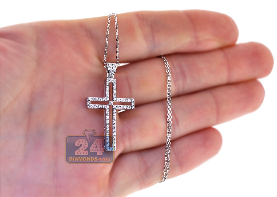 18k white gold ct diamond womens cross necklace. Black Bedroom Furniture Sets. Home Design Ideas