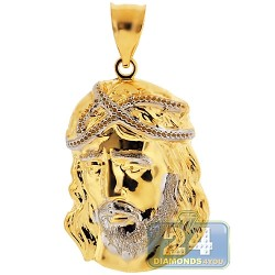 10K Yellow & White Gold Jesus Christ Face Pendant 1 7/8 Inches
