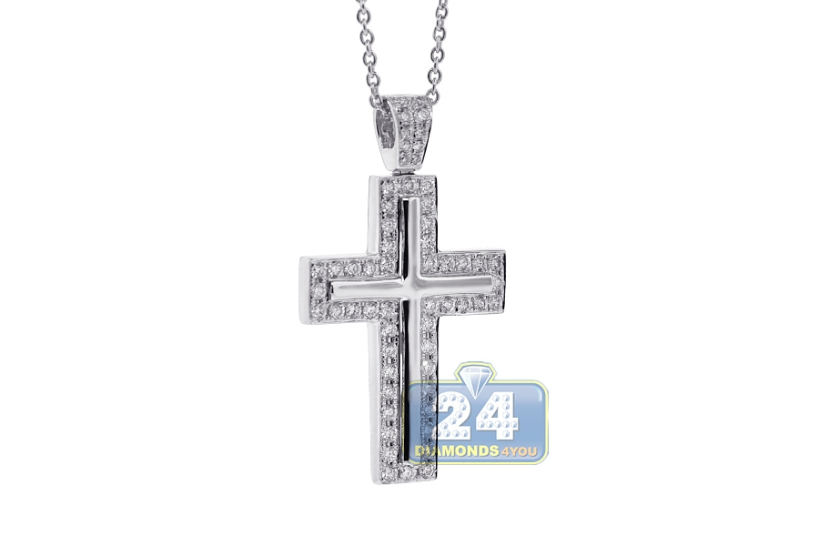 18k white gold 096 ct diamond cross womens necklace