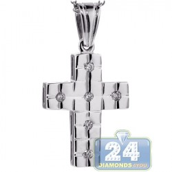 18K White Gold 0.12 ct Diamond Unisex Cross Necklace
