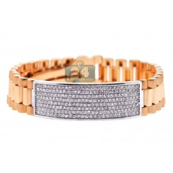 18K Rose & White Gold 4.55 ct Diamond Mens ID Bracelet 9 1/2 Inches