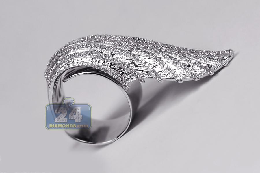 18k White Gold 1 26 Ct Diamond Womens Angel Wing Ring