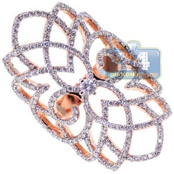 18K Rose Gold 1.38 ct Diamond Womens Filigree Ring