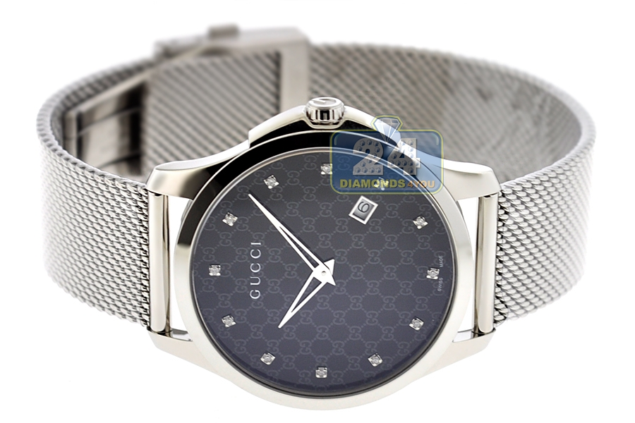 gucci g timeless diamond steel mesh watch ya126311 next