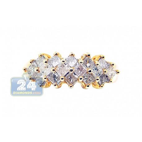 14K Yellow Gold 1.00 ct Princess Cut Diamond Womens Band Ring