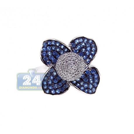 14K White Gold 1.34 ct Diamond Blue Sapphire Womens Flower Ring
