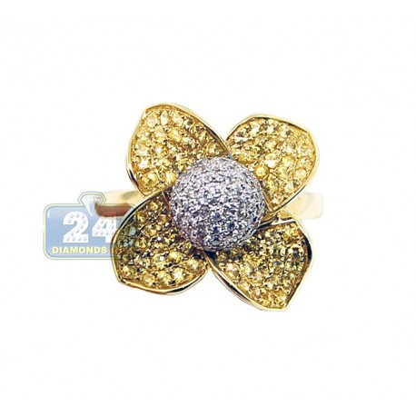 14K Yellow Gold 1.38 ct Diamond Womens Yellow Sapphire Flower Ring