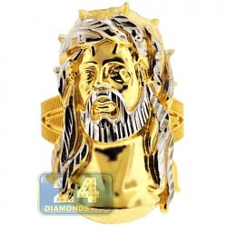 10K Yellow Gold Diamond Cut Jesus Christ Head Mens Ring