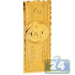 10K Yellow Gold One Hundred Dollars Bill Mens Pendant