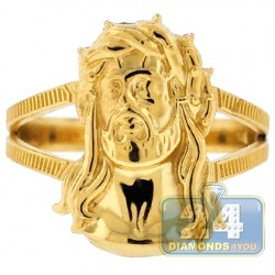 10K Yellow Gold Jesus Christ Head Womens Ring
