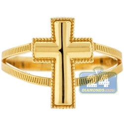 10K Yellow Gold Religious Cross Womens Ring