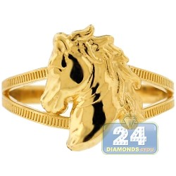 10K Yellow Gold Horse Head Womens Ring