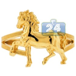 10K Yellow Gold Full Horse Body Womens Ring