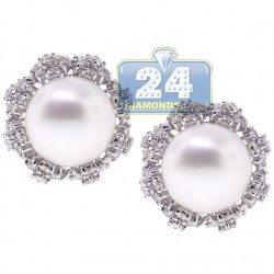 18K White Gold 2.31 ct Diamond & 11 mm Pearl Womens Earrings