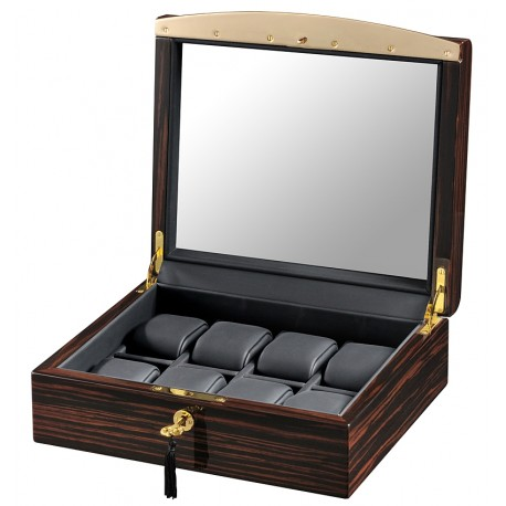 Volta Ebony Wood Black Leather 8 Watch Case 31-560940