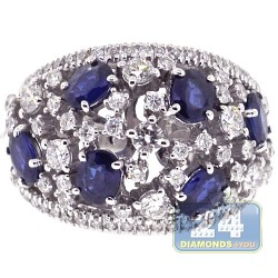 18K White Gold 3.54 ct Diamond Blue Sapphire Womens Ring