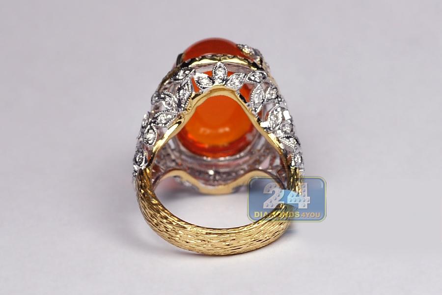 18k Yellow Gold 13 95 Ct Diamond Fire Opal Womens Ring