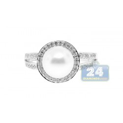 14K White Gold 0.35 ct Diamond 4.65 ct Pearl Womens Ring