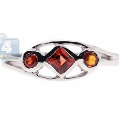 925 Sterling Silver 0.34 ct Garnet Womens Ring