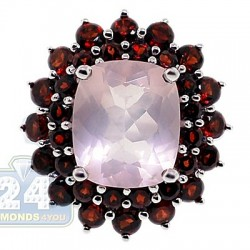 925 Sterling Silver 9.55 ct Rose Quartz & Garnet Womens Ring
