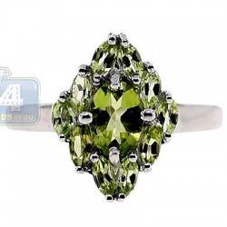 925 Sterling Silver 2.95 ct Peridot Womens Cluster Ring