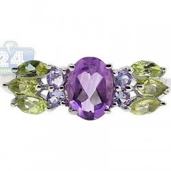 925 Sterling Silver 1.55 ct Multi-Gemstone Womens Ring