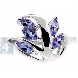 925 Sterling Silver 1.65 ct Tanzanite Leaf Womens Ring