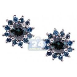 925 Sterling Silver 0.80 ct Blue Diamond Womens Stud Earrings