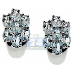 925 Sterling Silver 3.50 ct Blue Topaz Womens Stud Earrings