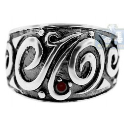 925 Oxidized Sterling Silver Womens Vintage Ring