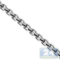 Solid Sterling Silver Round Box Mens Chain 3.5 mm