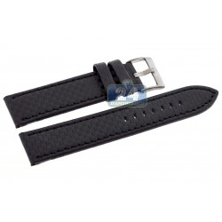 Hadley Roma Carbon Fiber Black Stitch Leather Watch Strap MS847