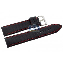 Hadley Roma Carbon Fiber Red Stitch Leather Watch Strap MS847