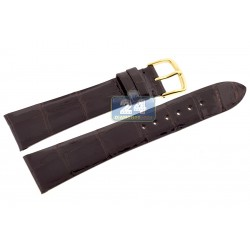 Hadley Roma Shiny Brown Genuine Alligator Leather Watch Strap MS2009