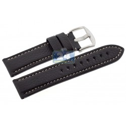 Hadley Roma Black Genuine Calfskin Leather Watch Strap MS2036