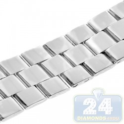 Hadley Roma Shiny Solid Link Steel Watch Band MB4516-W