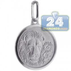 Italian Sterling Silver Leo Zodiac Sign Round Charm Pendant