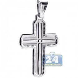 Italian Sterling Silver Wide Cross Mens Pendant