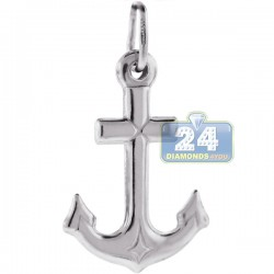 Italian Sterling Silver Medium Puff Anchor Mens Pendant