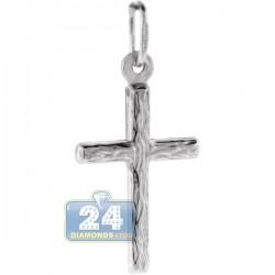 Italian Sterling Silver Diamond Cut Cross Unisex Pendant