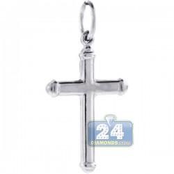 Italian Sterling Silver Classic Puff Cross Mens Pendant
