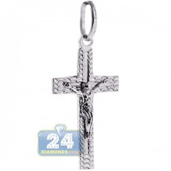 Italian Sterling Silver Crucifix Cross Unisex Pendant