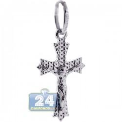 925 Sterling Silver Jesus Christ Diamond Cut Cross Pendant