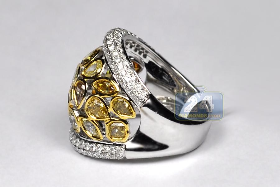 Womens Fancy Yellow Diamond Wide Band Ring 14k White Gold