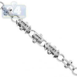 14K White Gold 6.34 ct Diamond Link Mens Chain 7.5 mm 30 Inches